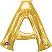 Gold Letter A Helium Foil Balloon