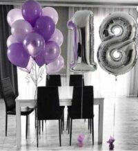 Helium Number 18 Balloons with Latex Bouquet