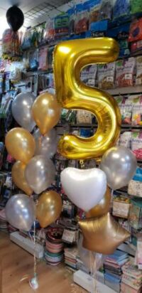 Helium number and latex balloons bouquet